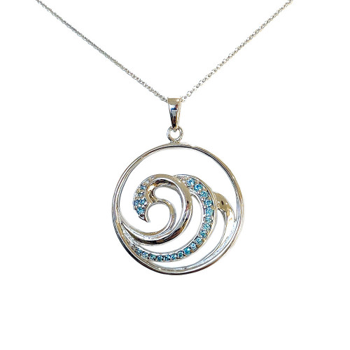 Multi Wave Necklace Blue