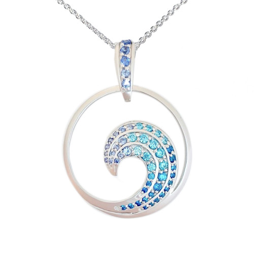 Sterling Silver Large Wave Pendant with Graduated Colored Synthetic Stones and Moveable Bail with Stones.