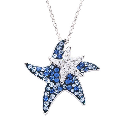 Starfish Mother and Baby Pendant with Swarvoski Crystals