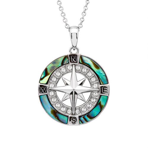 Abalone Compass Necklace Aqua Swarovski Crystals