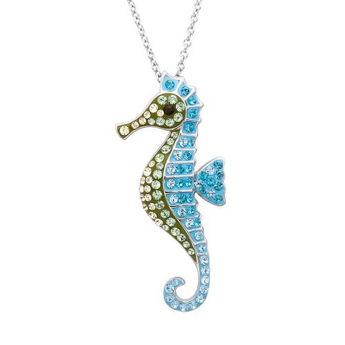 Seahorse Necklace Aqua Swarovski Crystals