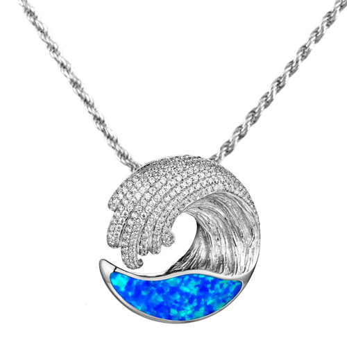 Opal Wave Pendant Necklace