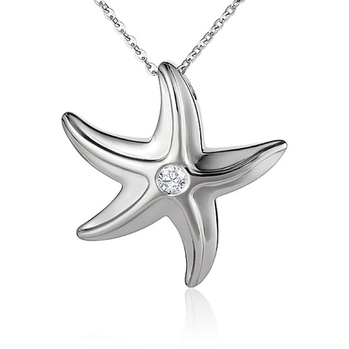 Starfish Pendant Silver and Crystal Necklace