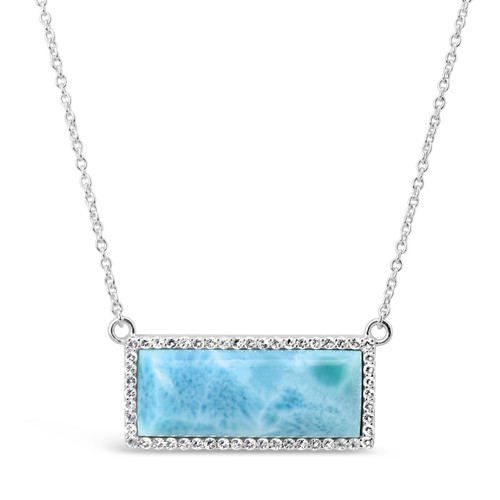 Bar Necklace Larimar and White Topaz