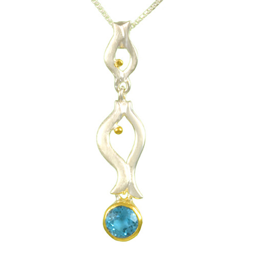 Baby Blue Topaz Fish Necklace
