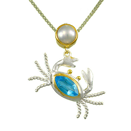 Baby Blue Topaz and White Freshwater Pearl Crab Necklace