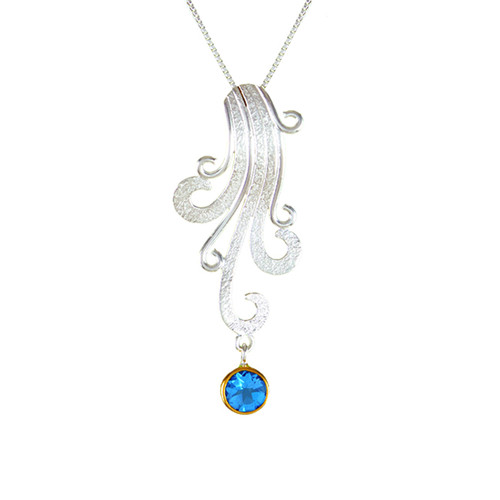 Lotus Waterfall Wave Stone Necklace