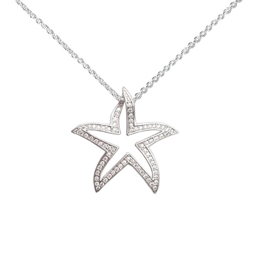 Sterling Silver Crystal Starfish Outline Necklace