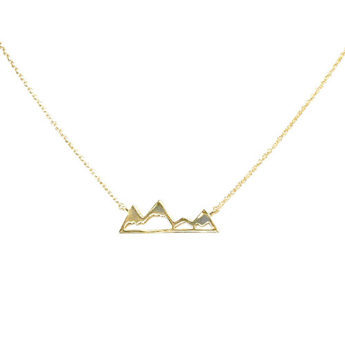 Adventure Mountains Necklace Gold
