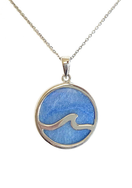 SS ROUND WAVE PENDANT IN BLUE AVENTULINE INLAY