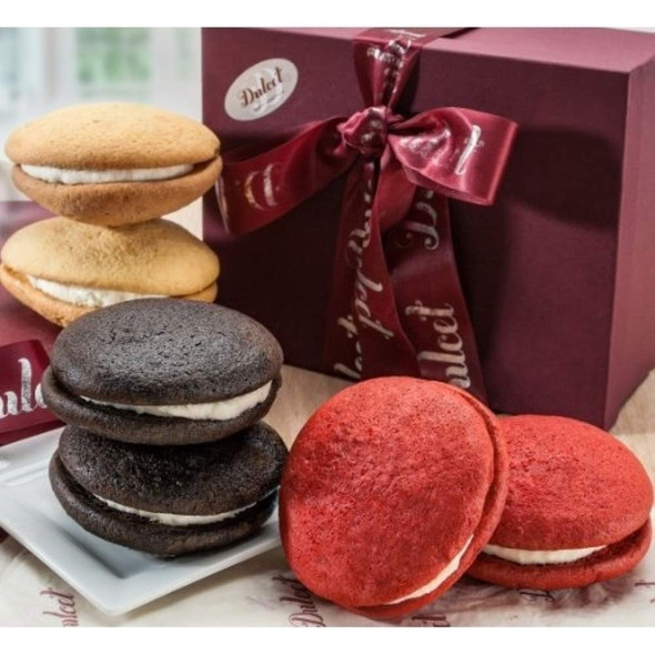Whoopie Pie Assortment Gift Box of Red Velvet, Lemon and Chocolate