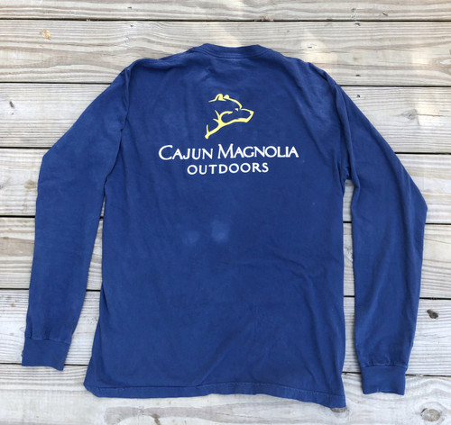 Long Sleeve Pocket Tee- Navy and Gold