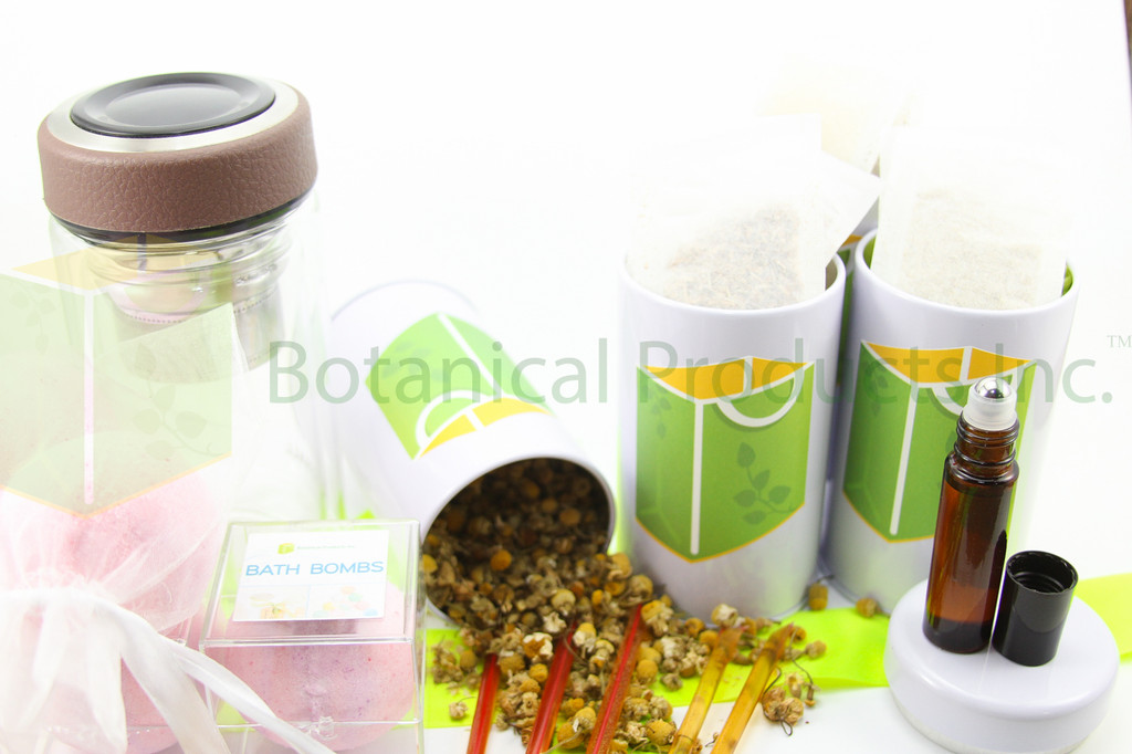 Botanical Products Inc. Deluxe Travel Tea 4 Pack - Sweet Slumber Edition includes:  Deluxe Portable Tea Infuser for easy sipping on the go or in bed  4 amazing organic travel-sized organic bed-time herbal teas  - 5 Bags of Wild Lettuce Tea  - 5 Bags of Valerian Root Tea  - 5 Bags of Lemon Balm Tea  - 5 Bags of Chamomile Flower Tea  BONUS Lavender Essential Oil Roller BONUS 5 PACK of delightful honey sticks to easily sweeten your tea with one of nature's best organic sweeteners. BONUS 2 PACK of SLEEP TIGHT Bath Bombs! BONUS 2 PACK of LAVENDER Bath Bombs!
