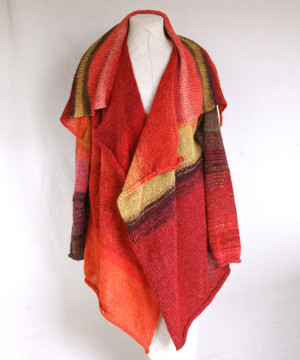 Annie cardigan inspired by red rose leaves photograph. Unique red gold violet color blended kid mohair, cotton and silk threads. One of a kind and unique knit by Inese for Wrapture by Inese.