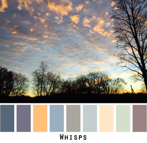 Whisps - soft sprays of peach clouds in a lavender blue dusty seafoam gray grey sunset sky, colors for blue eyes, brown eyes, blonde hair, brunette, black hair, gray hair - photo by Inese Iris Liepina, Wrapture by Inese