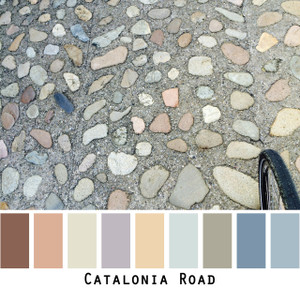 Catalonia Road -  dusty pastel colored pebble road, colors for blue eyes, green eyes, brown eyes, blonde hair, brunette, gray hair - photo by Inese Iris Liepina, Wrapture by Inese