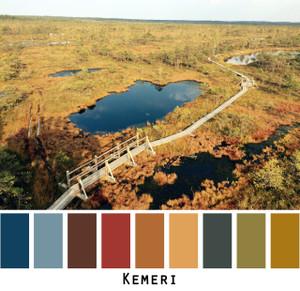 Kemeri - red orange gold with indigo blue water colors for green eyes, brown eyes, brunette, redhead, black hair - photo by Inese Iris Liepina, Wrapture by Inese