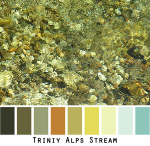Closeup of a Trinity Alps Stream with rocks and rippling water, by Inese Iris Liepina made into a color card for custom ordering from Wrapture by Inese