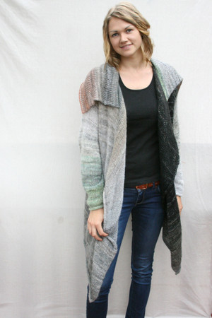 Birch Annie knit long cardigan coat Wrapture by Inese Iris Liepina, gray ombre black silver pewter lichen kid mohair silk cotton knitted unique one of a kind