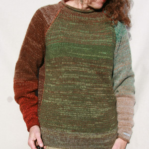 Bark raglan pullover sweater size L Wrapture by Inese Iris Liepina,  brown tobacco seafoam lichen forest green hunter green grey rust chocolate, local Baltic wool, kid mohair, silk, cotton, knitted unique one of a kind