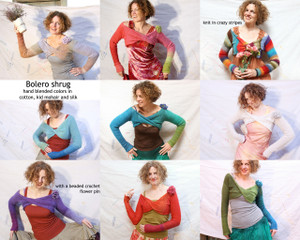 Bolero Shrug custom order, one of a king knit by Wrapture by Inese Iris Liepina