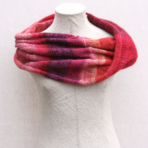 Cranberries color card inspired kid mohair and silk loop infinity scarf on dress form knit by Inese for Wrapture by Inese