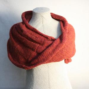 paprika marled shawl wrap mohair cotton chunky knit Wrapture by Inese Iris Liepina