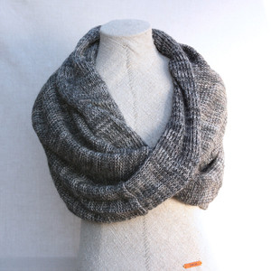Charcoal marled shawl wrap mohair cotton chunky knit Wrapture by Inese Iris Liepina