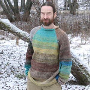 Tongariro Crossing turquoise brown teal chartreuse wool mohair raglan sweater size L for men and women unique knitwear by Wrapture by Inese