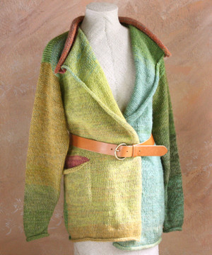 Green aqua and chartreuse Willow Liene Sweater Coat in size  M on dress form, belted with rosy painted wall background - Wrapture by Inese
