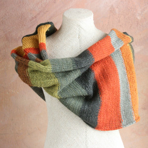 Dark earthy tones striped Shawl Wrap mushroom dyed wool yarn mixed with kid mohair and silk threads. Wrapture by Inese