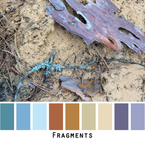 Fragments blue grey violet brown gold colors in a photo by Inese Iris Liepina made into a color card for custom ordering from Wrapture by Inese