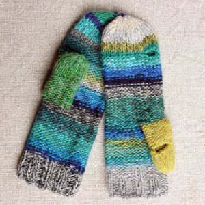 New Zealand hand knit Smart Phone Mittens mens teal blue green grey stripes thumbhole finger hole left handed or right handed hand knit Wrapture by Inese
