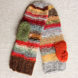 Rowan Berry hand knit Smart Phone Mittens mens red gold grey stripes thumbhole finger hole left handed or right handed hand knit Wrapture by Inese