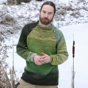 Reflections green raglan pullover sweater size L reversible sweater worn by man with beard