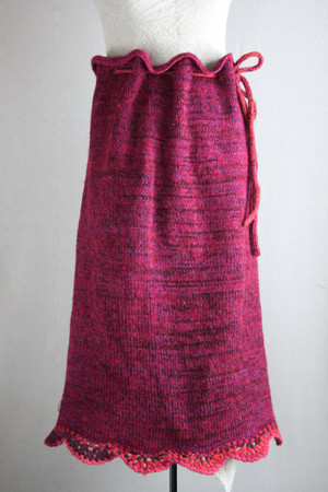 Knit blanket skirt pre-washed wool, kid mohair, cotton, silk hand blended yarn. Hand crochet edge. Wrapture by Inese