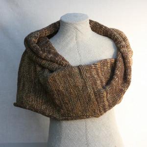 Walnut marled shawl wrap mohair cotton chunky knit Wrapture by Inese Iris Liepina on a dress form