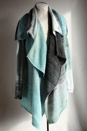 Glacier Blue Annie long cardigan wrap sweater coat on dress form, front view knit in blue charcoal grey black teal silver by Wrapture by Inese