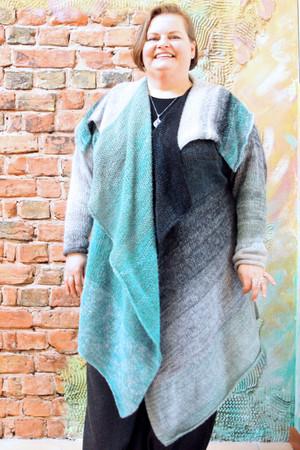 XXL Annie long cardigan wrap sweater coat Wrapture by Inese shown on xxl sized model