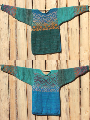 Blue Green Latvian symbols sweater size XL view of both sides of reversible unisex sweater