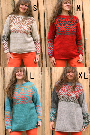 Latvian symbols sweater shown with Inese wearing a series of sizes, S, M, L, and XL. I am a very tall M, so here you can see the fit change Wrapture by Inese