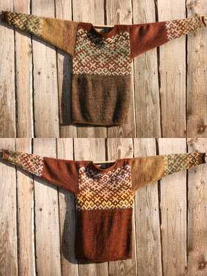 view of both sides of reversible unisex chocolate brown Latvian symbols sweater size M hung on woodshed, knit by Inese Iris Liepina