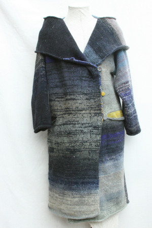 Front view of Mongolian Lake inspired shawl collar felted wool statement coat knit by Inese for Wrapture by Inese.