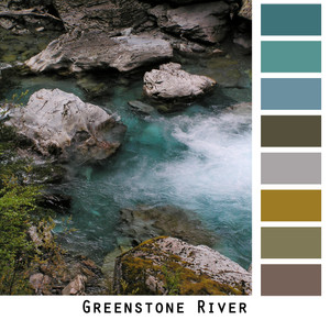 The intense blue waters of the Greenstone River rapids with grey rocks taken during a trek in New Zealand made into a color card for custom ordering knit sweaters. Photo by Inese Iris Liepina Colors include teal blue, tobacco, dark brown, grey.
