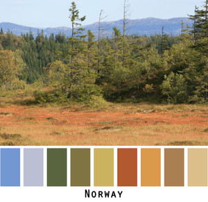 Norway scenery of golden red marshlands, green forests and blue mountains made into a color card for custom ordering knitwear from Wrapture by Inese. Photo by Inese Iris Liepina