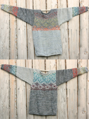 More comfortable than a sweatshirt, and much more unique. Heather grey with the power of Latvian symbols in size XL. Knit by Inese for Wrapture by Inese, unique and one of a kind.