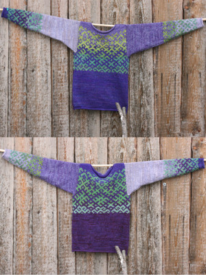 Purple Green Latvian symbols sweater in size S knit with local wool, kid mohair, silk, cotton  by Inese, unisex, reversible, shown flat on wood wall in double exposure to show either side