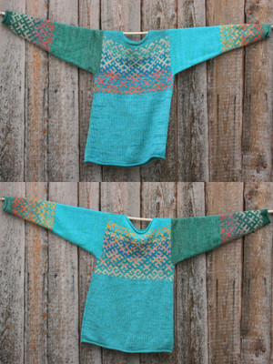view of both sides of reversible turquoise blue Latvian symbols sweater size L Wrapture by Inese