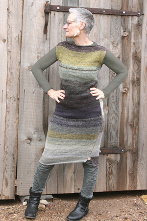 size S Grey Leaves colored random ombre stripe calf length tank dress as worn by grey haired model in with woodshed background