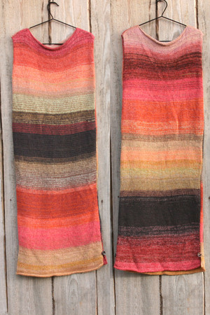 both sides in double photograph of size L Rose Hips inspired random ombre stripe calf length tank dress on hanger hung on side of woodshed knit by Wrapture by Inese